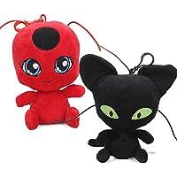 アニメ Miraculous Ladybug plush てんとうむし ぬいぐるみ 黒猫 ドール 抱き枕 2個入り お人形 女の子 男の子 贈り物(15cm)