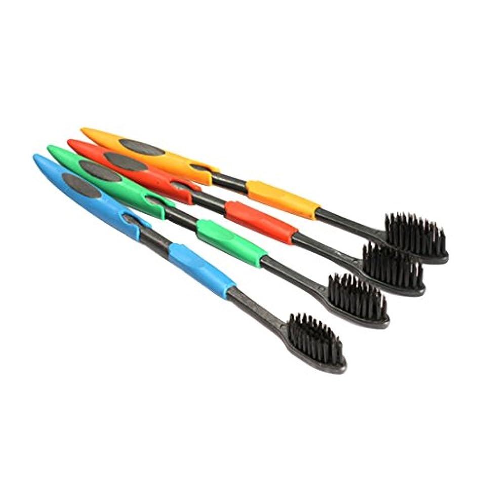 確認破滅的な添付YPZHEN 4 PCS抗菌ソフトスーパーファインファミリーサイズの歯ブラシナノ竹炭の歯ブラシ、ランダムカラーデリバリー