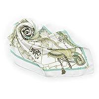 キヌフローレス 横浜 スカーフ 高級 シルク 100% 日本製 大判 正方形 88×88 エルメス柄 馬具柄 リッチハーネス ヴェルディグリーン