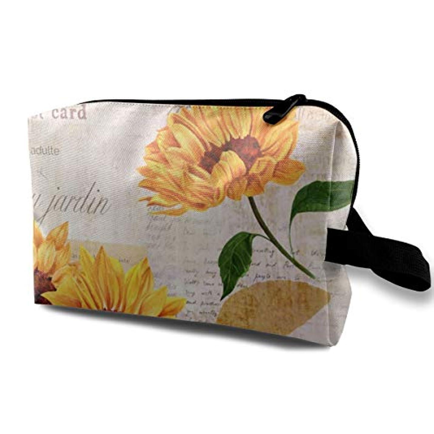 楽しむ完全に必要Yellow Watercolor Sunflowers 収納ポーチ 化粧ポーチ 大容量 軽量 耐久性 ハンドル付持ち運び便利。入れ 自宅?出張?旅行?アウトドア撮影などに対応。メンズ レディース トラベルグッズ