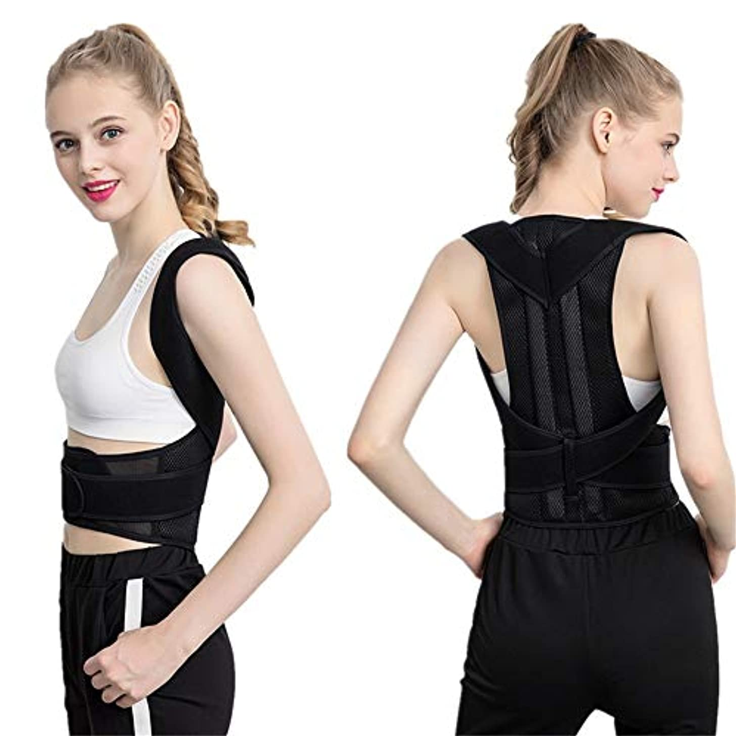 マートほのめかす矢バックブレース姿勢補正機能女性と男性のために脊椎を安全に保ちます姿勢補正機能が姿勢を改善します腰椎保護を提供しますフルアジャスタブル弾性ストラップ 男女兼用 (色 : ブラック, サイズ : M)