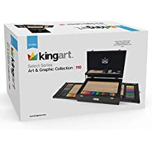 KINGART 130 Select Series Art & Graphic Collection, Set of 110 Art Set Assorted, Espresso Stained Hardwood Case, Silver Hinges/Clasp