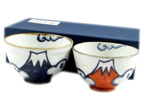 有田 波佐見焼 翔芳窯 青富士・赤富士 組茶碗(夫婦茶碗) 20850