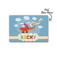 """Nutcase Personalized Polyプレミアムファブリック布withリバーシブル印刷ディナーテーブルマット/Place mats- 16"""" x 12""""–Â Helicopter & Clouds"""
