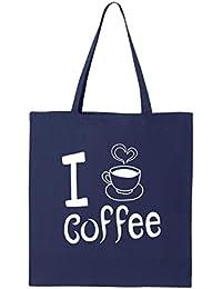 shop4ever I Love Coffeeトートバッグコーヒーカップ再利用可能なショッピングバッグ6オンスコットンキャンバス 6 oz ブルー S4E_1215_LoveCoffee_TB_8502_Navy_3