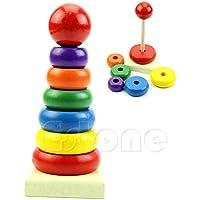 Upupo 赤ちゃん 子供 教育 木製玩具 積み重ね ネスト学習ブロック 積み重ね レインボー タワーリング おもちゃ
