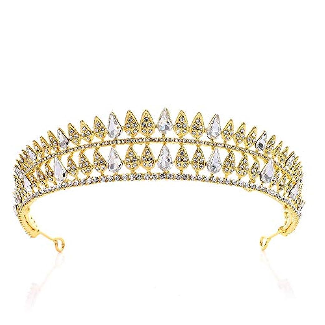 誇り哲学者食欲ヘアバンド クリスタルクラウンラインストーンブライダル花嫁介添人の王冠ティアラウェディングパーティーヘアヘッドピースヘアアクセサリークリスタルラインストーンクラウン ティアラ (Color : Gold, Size : 16*3.5cm)
