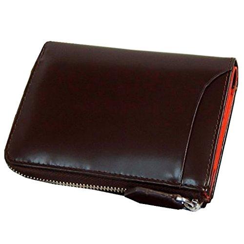 [ Maturi マトゥーリ ]  キーと財布の一体化! かっこいい大人の折財布×キーケース 誕生日プレゼント (コードバン×牛床革 MR-131) (ブラウン×オレンジ)