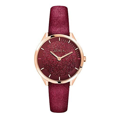 [フルラ]FURLA レディース 女性 ワインレッド グリッター ローズゴールド 革 レザー R4251123502 腕時計 [並行輸入品]