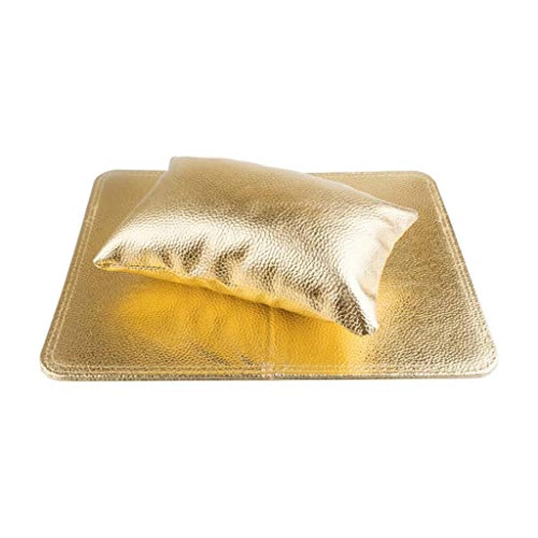 統治する毒液主流Lazayyii ネイルセットハンドピローリストピロースポンジレザー折りたたみハンドピローパッド (ゴールド)