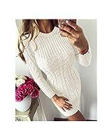 暖かいセータードレスの女性のセクシーなスリムボディコンドレスOネックロングスリーブニットドレスVestidos、ホワイト、XL