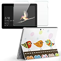Surface go 専用スキンシール ガラスフィルム セット サーフェス go カバー ケース フィルム ステッカー アクセサリー 保護 ラブリー 鳥 ハート カラフル 007066