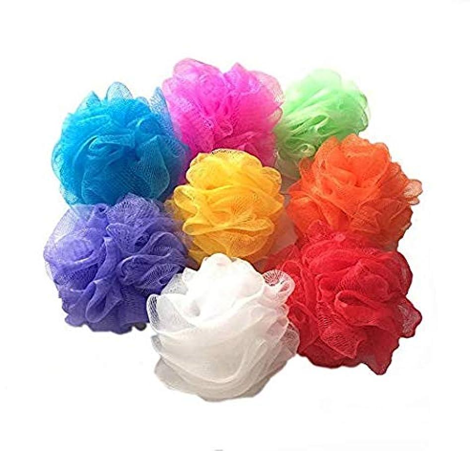 イブニング日没核ボディスポンジ 泡立てネット 柔軟 シャワー用 ボディ用お風呂ボール 花形 タオル ネットバスボール 花ボディースポンジ 8 個入 (マルチカラー)