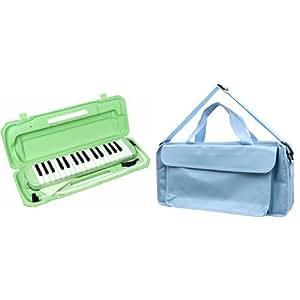 KC 鍵盤ハーモニカ (メロディーピアノ) ライトグリーン P3001-32K/UGR + 鍵ハモバッグ[Sky Blue] 付属セット