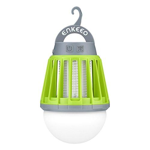 enkeeo 電撃殺虫器 UV光源誘引式 薬剤不要 赤ちゃんやペットにも安心 LEDランタン&誘虫灯 蚊取り&照明両用 2000mAh容量 USB充電式 IPX6完全防水 SB-6057【メーカー保証】(グリーン)