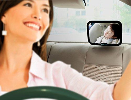 Kid Transit ベビーミラー ・ チャイルドシート用 ・ バックミラー越しに後部座席に後ろ向きに座っている赤ちゃんをはっきり確認 ・ 大判鏡 ・ 黒色