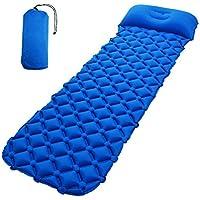 Inflatable Sleepingマットパッドと枕とユニークなバックルデザイン軽量折りたたみキャンプエアマットレスと互換性ハンモックとテントSleeping Bag forアウトドアバックハイキング ブルー 85214