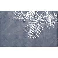 壁紙ネイビーブルー写真壁画エレガント北欧風葉テクスチャテレビ背景壁紙元の画像 208x146cm