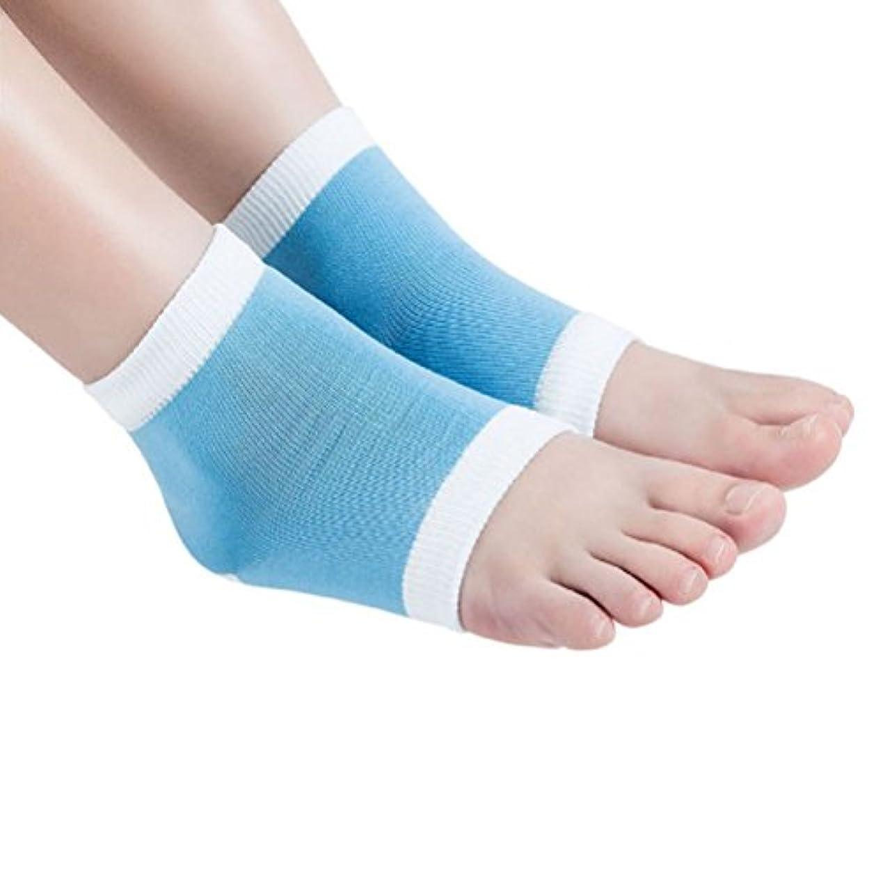 指紋引き出す気づくROSENICE かかとソックス 保湿ゲルかかと靴下(ブルー)