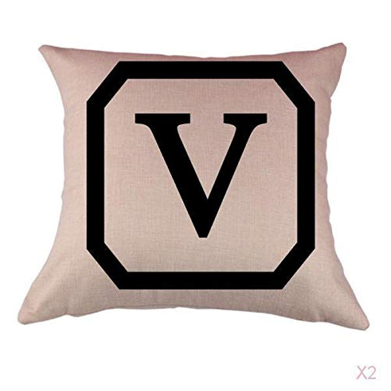 無臭妻用量FLAMEER コットンリネンスロー枕カバークッションカバー家の装飾、初期文字v