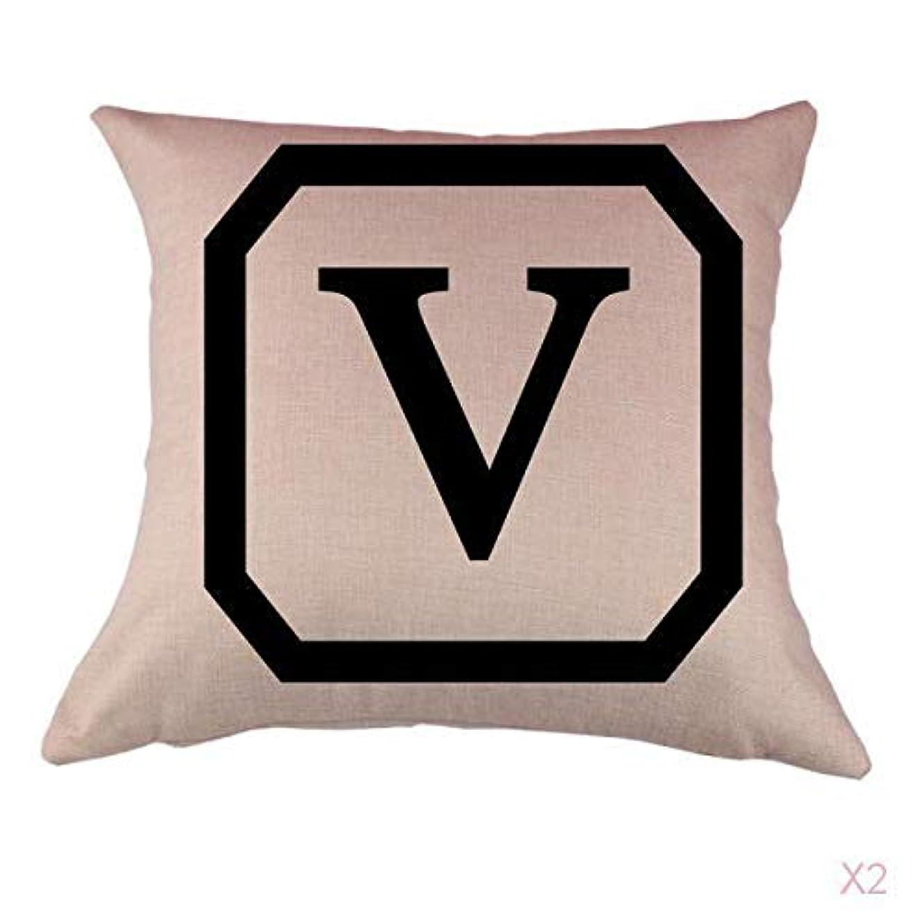 表示ボタン宇宙のコットンリネンスロー枕カバークッションカバー家の装飾、初期文字v