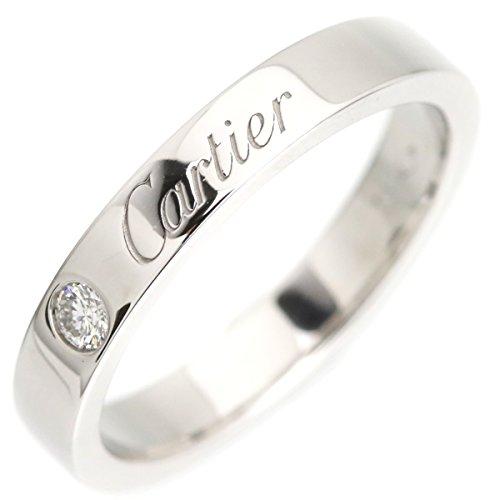 カルティエ Cartier ウェディングリング エングレーブド 指輪 7号 ダイヤ 1P ブラチナ 中古