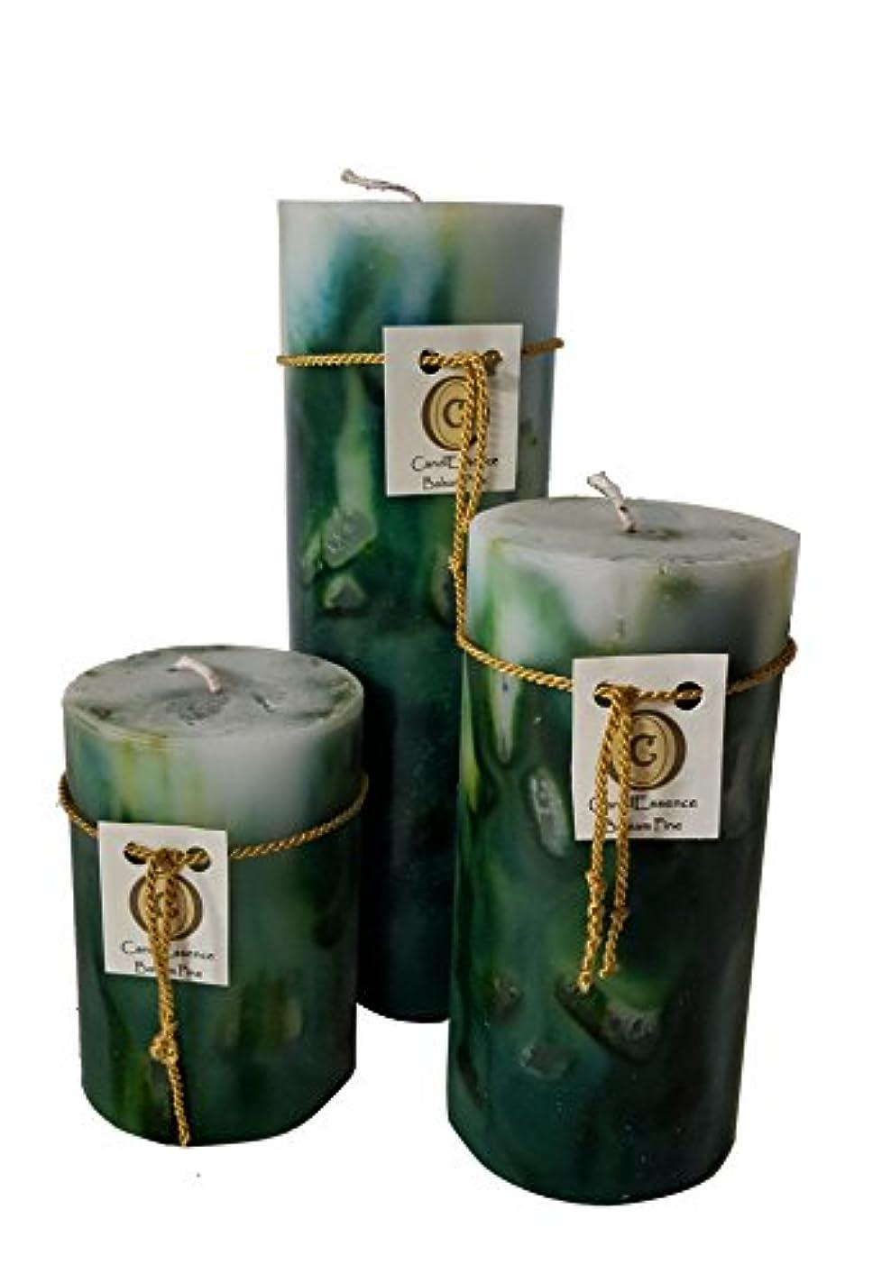 冷える北へ怠けたハンドメイドScented Candle – Long Burningピラー – Balsam Pine香り Set of 3 B01MYMQ92Y