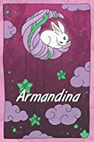 Armandina: personalized notebook | sleeping bunny on the moon with stars | softcover | 120 pages | blank | useful as notebook, dream diary, scrapbook, journal or gift idea