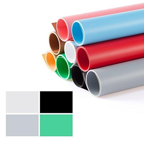 Meking 撮影用 PVC 背景布 バックペーパー 68cm x130cm 4色セット(ホワイト、グレー、グリーン、ブラック)