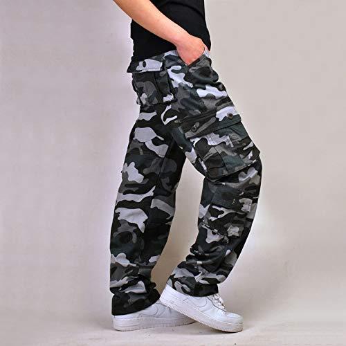 カーゴパンツ メンズ 作業ズボン 作業服 ワークパンツ ロングパンツ ゆったり 大きいサイズ 綿100% 58 ブルー迷彩 42