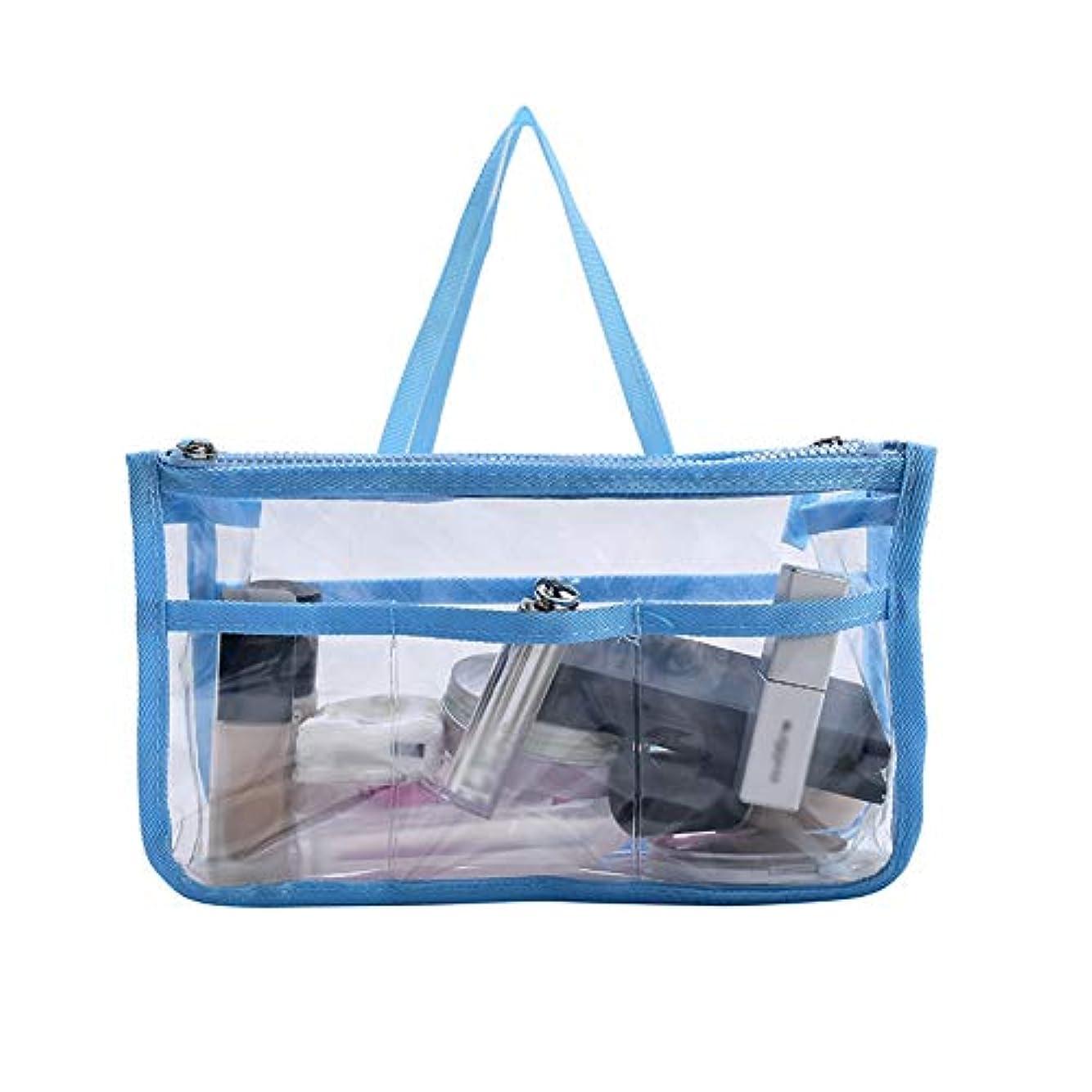 地味な潮なだめる透明旅行化粧品袋美容師ウォッシュバッグ新しいシンプルなファッション収納袋寝室のバスルーム男性と女性,Blue