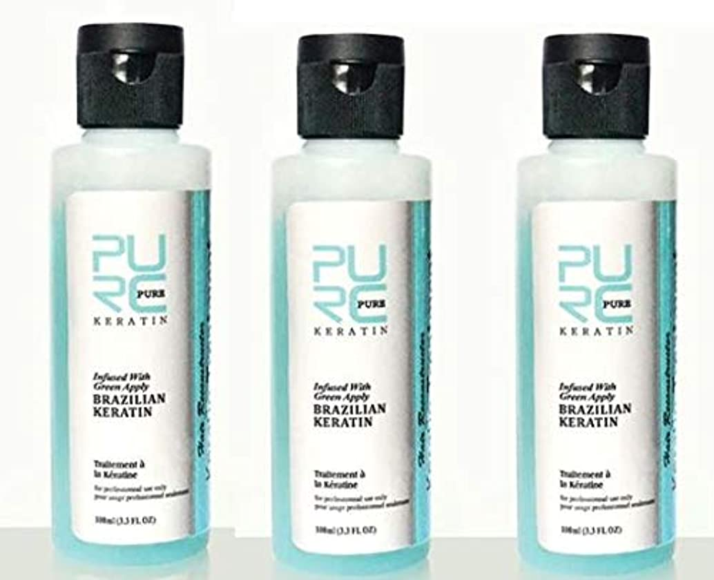 賄賂同情公演3 pcs x PURC 3.7% Apple Flavor Keratin Treatment Straightening Hair Repair Damage Frizzy Hair Brazilian Keratin...