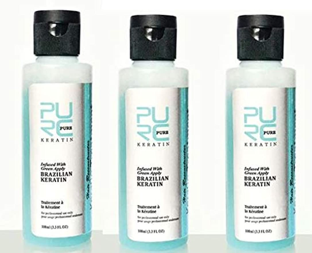 毎回統合アスレチック3 pcs x PURC 3.7% Apple Flavor Keratin Treatment Straightening Hair Repair Damage Frizzy Hair Brazilian Keratin...
