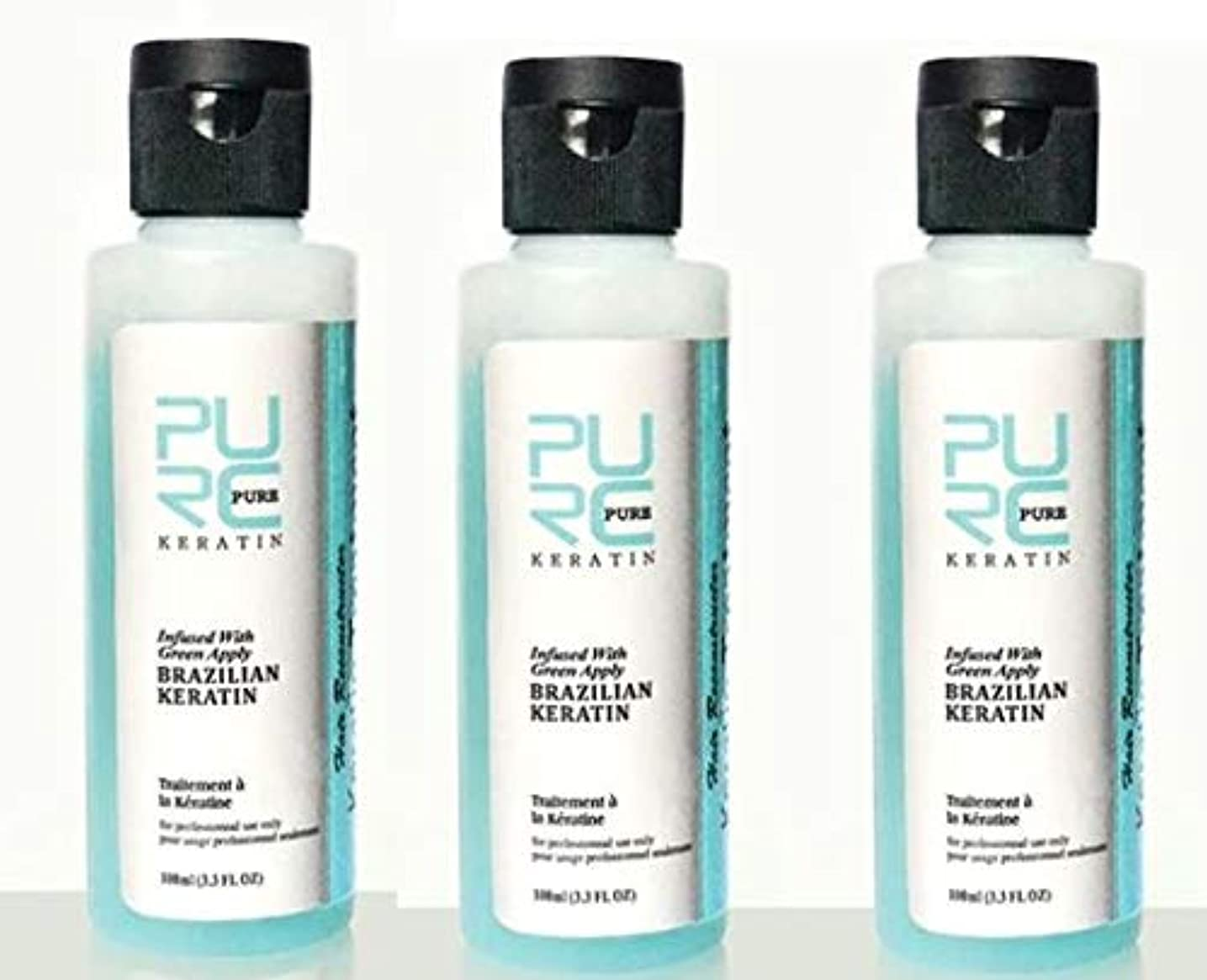 簡略化するの量採用する3 pcs x PURC 3.7% Apple Flavor Keratin Treatment Straightening Hair Repair Damage Frizzy Hair Brazilian Keratin...