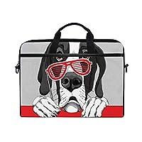 MOBEITI 15-15.4インチラップトップバッググレートデーン犬レッドグリルメガネショルダーメッセンジャーバッグスリーブケースタブレットブリーフケース付きハンドルストラップ