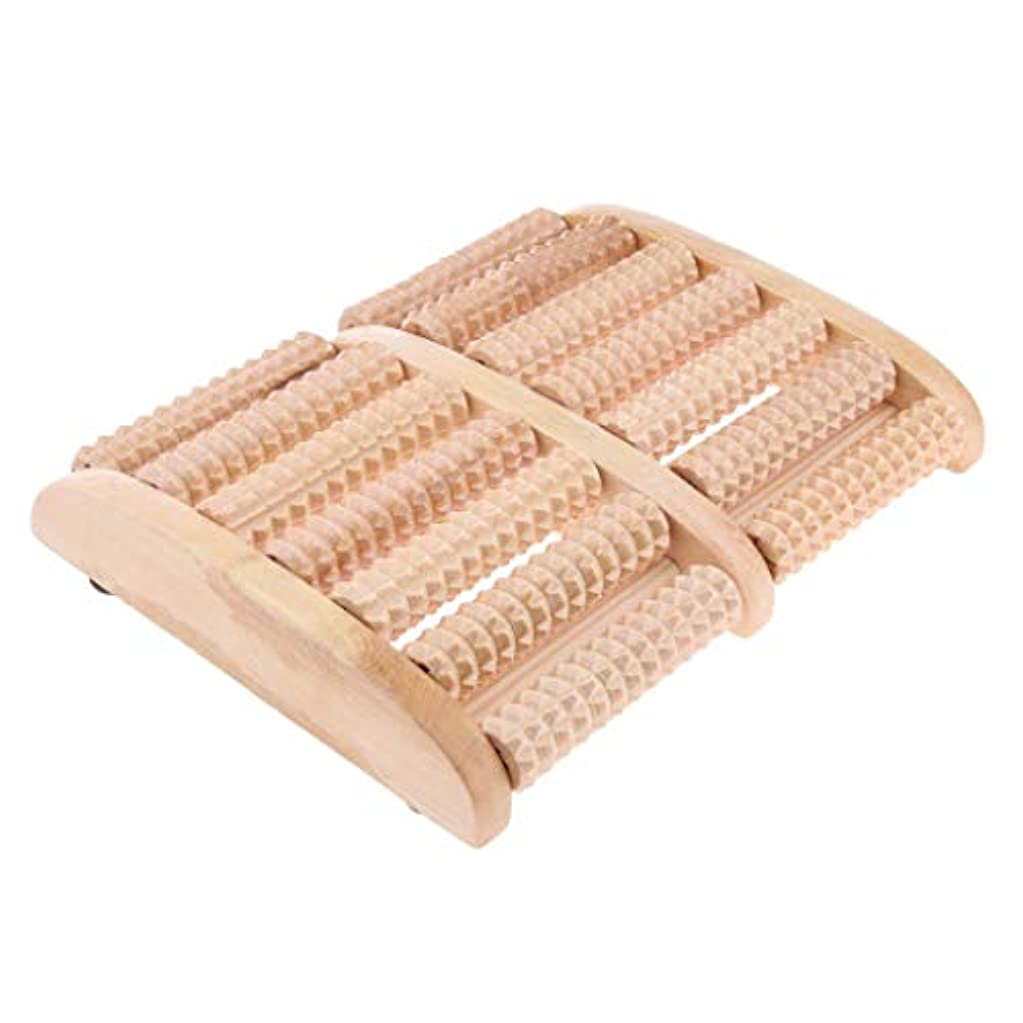叫び声縫う控えるウッドローラーマッサージャー フットマッサージ 7行 ツボ押し リラックス 足裏 健康器具 贈り物