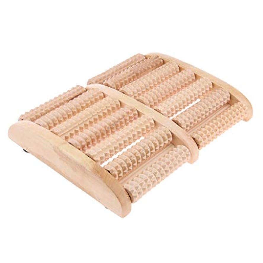 指紋リボン分配しますBaoblaze ウッドローラーマッサージャー フットマッサージ 7行 ツボ押し リラックス 足裏 健康器具 贈り物