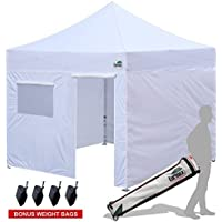 New Eurmax Basic 10x10 Ez Pop Up Canopy Outdoor Canopy Instant Tent with 4 zipper Sidewalls and Roller BagBouns 4 weight bags (White) [並行輸入品]