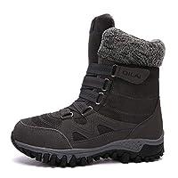 冬のブーツの男性女性の雪のブーツ暖かい足首ブーツ靴レディース履物完全に毛皮裏地屋外ウォーキングハイキング旅行靴,Gray,38EU