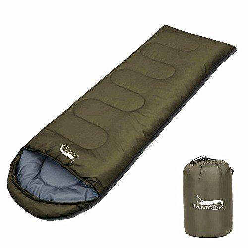 DesertFox 寝袋 丸洗できる 封筒型 シュラフ 1kg 1.4kg オールシーズン 夏用 冬用 軽量 防水 コンパクト 収納 アウトドア 登山 車中泊 防災用 (グリーン 1kg)