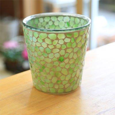 ガラス製鉢カバー:ボーテガラスポットc* 16cm(内径14.5)X16cm【5号鉢用】 (ライム)