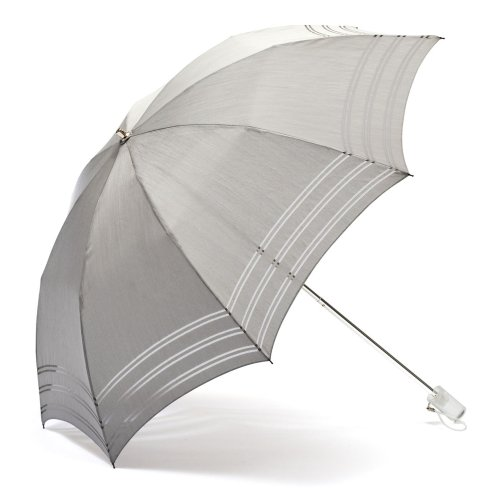 masa(鈴寅) ナノテク 遮熱UVケアパラソル 折畳み Stripe柄(カラー:Pearl Gray)