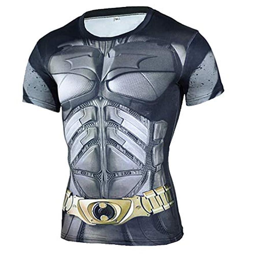 地下カニ飛び込むメンズ Tシャツ半袖 スーパーヒーローBatman 吸汗速乾 コンプレッションウェア パワーストレッチ アンダーウェア