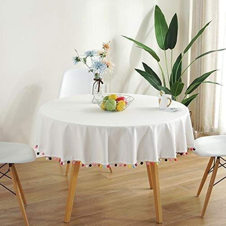ラグ協力的に沿ってクリスマス テーブル クロス テーブルクロス長方形テーブルクロスコットンとリネンテーブルクロスカラフルなボールテーブルカバー多目的屋内と屋外 (Color : White, Size : Diameter 100cm)