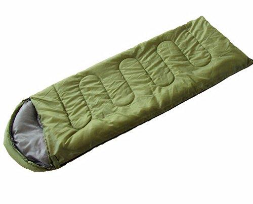 peak motion 寝袋 封筒型 軽量 コンパクト 通気性抜群 耐寒 帽子付き アウトドア 登山 車中泊 防災 避難用 最低使用気温5℃ 一人用 収納袋付き (グリーン)