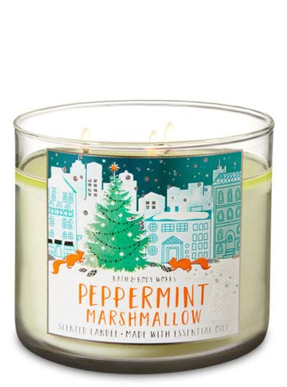 ルーフ火山の偏見【Bath&Body Works/バス&ボディワークス】 アロマ キャンドル ペパーミントマシュマロ 3-Wick Scented Candle Peppermint Marshmallow 14.5oz/411g [並行輸入品]