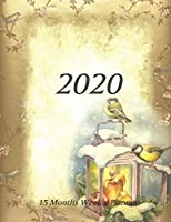 Large Print - 2020 - 15 Months Weekly Planner - Victorian Christmas - Holiday Candle Lantern with Birds: January 2020 thru March 2021 - 15 Months Daily Dated Agenda Calendar Notebook