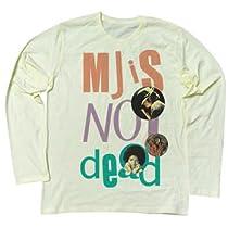 """マイケル・ジャクソンは永遠です パンクスには馴染みの文句""""PUNK IS NOT DEAD""""。こいつをスーパースター、マイケルにかけたデザイン ロングスリーブ Tシャツ (XL, SHERBETYELLOW)"""
