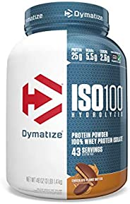 Dymatize ISO 100 Whey Protein Powder Isolate, Chocolate Peanut Butter, 1.4kg (3 lbs)
