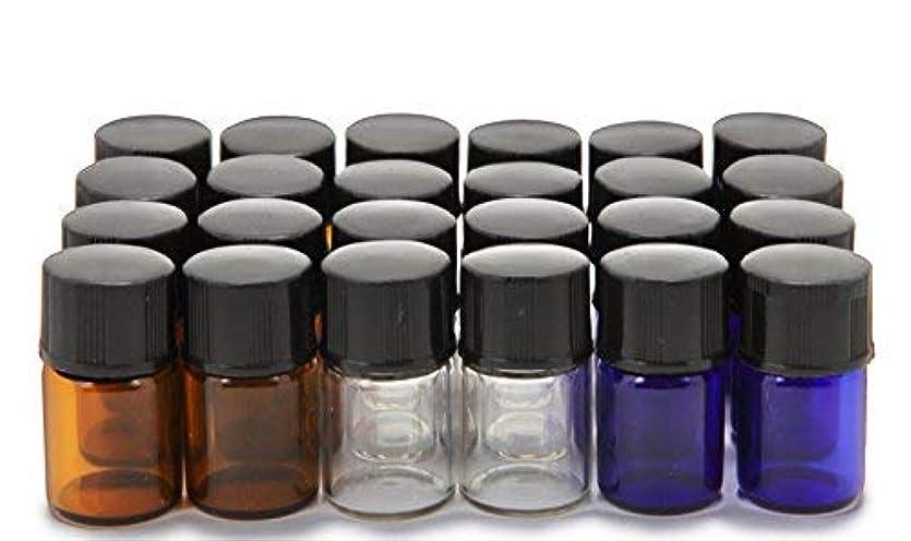 統合する額挑むVivaplex, 24, Assorted Colors, 2 ml (5/8 Dram) Glass Bottles, with Orifice Reducers and Black Caps [並行輸入品]